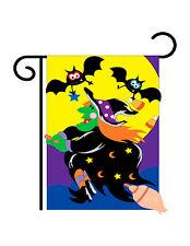 """Bats & Witch Halloween (13"""" x 18"""" Approx ) Garden Size Flag Tg 62044"""