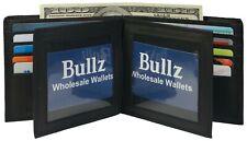 Genuine Leather Mens Bifold 2 ID's multi Card Double Flap Popular Wallet Black