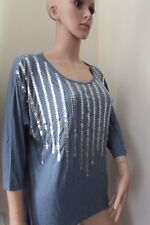Very/South Linear Embellished  Sleeves Top AirForce Blue 16 Blue/Multi