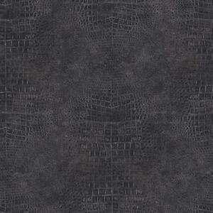 Wallpaper Designer Faux Croc Crocodile Alligator Textured Gray Black Vinyl