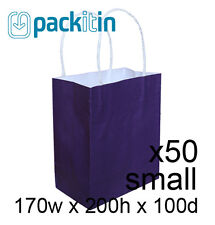 x50 PURPLE paper gift CARRY tote party BAGS with handles - SMALL (170 x 200mm)