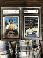 Dave Stewart 1982 Topps 213, 1982 Fleer 24 GMA 7.5 NM+ Dodgers Rookie Cards