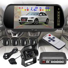 "Caravan Rear View Kit 7"" Mirror Monitor+IR CCD Reversing Camera+4 Parking Sensor"