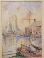 ALBERT M. HELWIG ORIGINAL WATERCOLOR OF SAILBOATS FISHERMEN PORT SCENE MARYLAND