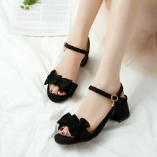 Summer Women's Casual Open Toes Bow Sandals Faux Suede Plus Size Chunky Heels UK