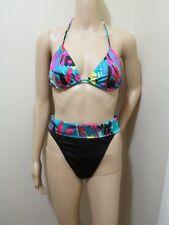 Vtg 80s High cut leg thigh Fold over High Waist Bikini Swimsuit Joyce Holder M