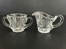 vintage clear cut crystal creamer & sugar bowl - Etched butterfly
