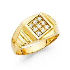 Mens Engagement Ring Solid 14k Yellow Gold Band CZ Pave Set Fancy Wedding Style