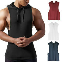 Men's Muscle Fitness Workout Drawstring Hoodies Tank Top Bodybuilding Sweatshirt