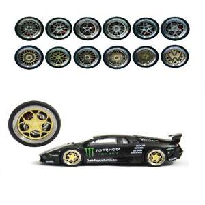 Scale Alloy Wheels Brake Caliper Rubber Tires 1/64 for Matchbox Tomy Tarmac Work