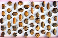 Wholesale Jewelry Lots 25pcs Oversize Tiger eye Stone Silver Plated Woman Rings