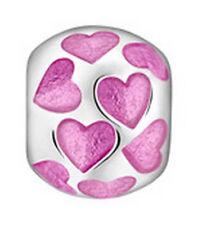 LOVELINKS BY PASTICHE   ENAMEL PINK HEARTS SILVER LINK TE007PK MINT