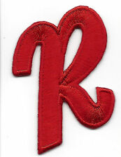 "LETTERS  - Red Script  2"" Letter ""R"" - Iron On Embroidered Applique"