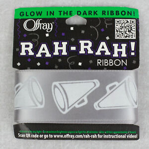"""1.5"""" Glow in the Dark Cheerleading Megaphone Ribbon 10 Colors-Offray 3 yds"""