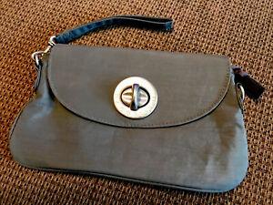 Baggallini Gray Turn lock Nylon Bag Strap Clutch Travel Handbag Wristlet