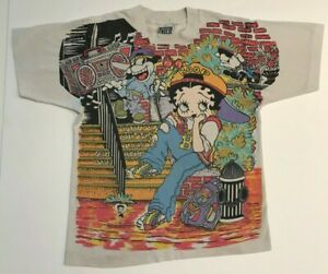 KID'S VINTAGE 90'S 1994 BETTY BOOP HIP HOP RAP DOUBLE SIDED T-SHIRT ONE SIZE