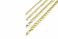 "14k Solid Yellow Gold Cuban Link Chain Necklace 1.5-12mm Men's Women Sz 16""-36"""