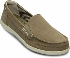 Women's Crocs WALU II Canvas Slip on Loafers Shoes SZ 4 W Khaki Stucco