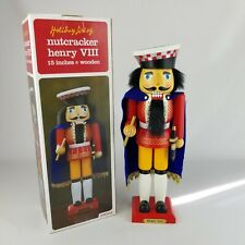 """Vintage Christmas Holiday Living Henry Viii Nutcracker On Wooden Stand 15"""" Tall"""