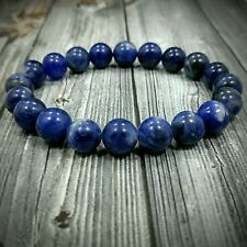"8""L Handcrafted 10mm Genuine Blue Sodalite Gemstone Bead Men's Bracelet No Metal"
