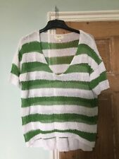 Next Green And White Striped Woven Knit Top Size 16