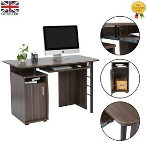 Modern PC Computer Desk Workstation with Drawer and Door Office Home Study Table