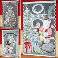 Christmas Curtain With LED Light Door Window Xmas Sheer Curtains Decoration