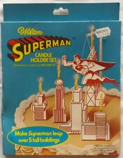 1979 WILTON SUPERMAN BIRTHDAY CAKE TOPPER DECORATION TOPS CANDLE HOLDER SET TOY