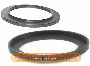 49mm to 58mm 49-58 mm Step Up Filter Ring  Adapter