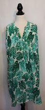 NO LABEL ~ White & Green Tropical Monstera Leaves Print Viscose Shift Dress 16