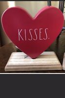 "RAE DUNN Valentine's Day LL ""KISSES"" Red Heart Stand Table Decoration By Magenta"