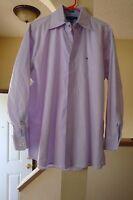 Men Tommy Hilfiger heritage oxford dress shirt purple Sz 16 32-33 L Regular Fit