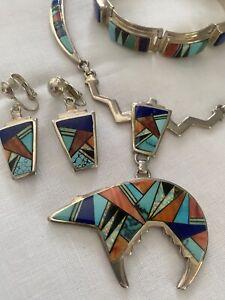 Stunning Calvin Begay Navajo Sterling Set Necklace, Earrings & Bracelet