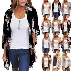 Womens Floral Cardigan Ladies Bell Sleeve Kimono Summer Cover Up Tops Plus Size