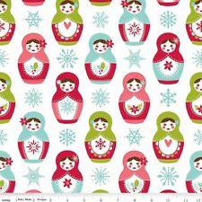 Matryoshka on white FLANNEL By the yard Riley Blake Russian Dolls