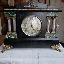 Ingraham Black Mantle Clock Unusual Pierced Dial