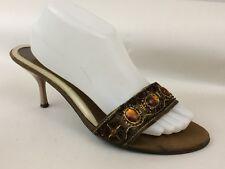 Dollhouse JADA Womens 10 M Shoe Open Toe Kitten Heel Beaded Gold Slides Pumps