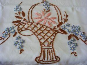2 PillowCases Hand Embroidered Crochet  Sateen Cotton Standard New Flower Basket