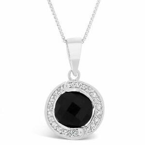 Black Onyx & White Topaz Round Pendant in Sterling Silver
