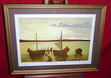 Framed Lithograph - Fishing Boats In Water - Giuseppe Verso - 201/275