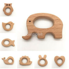 Cute Safe Natural Wooden Animal Shape Ring Baby Teether Teething bite Toy Hot FR