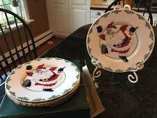 FITZ and FLOYD Yuletide Holiday Kicking Santa Salad Dessert Plate Box of 4 NIB