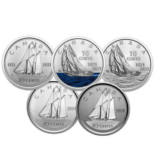 🇨🇦 Canada 10 cents Bluenose Coins, Full Set Dimes issued for 2021
