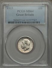 UK 1915 George V 6 pence PCGS MS64 superb white silver coin