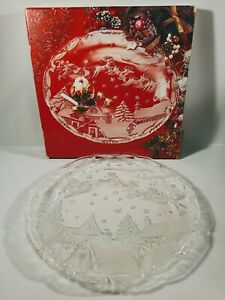 """Mikasa Christmas Village Crystal Hostess Platter Round 15-1/2"""" Made in Germany"""