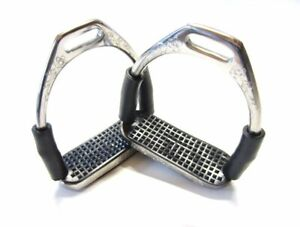 Edler Sicherheits-Steigbügel mit Gelenken - Silber, verziert,  1 Paar
