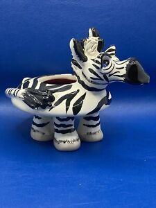 Studio SWAK Lynda Cornielle Handmade Painted Porcelain Zebra Candle Holder