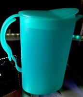 New Vintage Tupperware 2qt Slimline Impressions Pitcher RockerTop Lid Teal Green