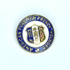 Scarce WWI American Fund for French Wounded Lapel Pin Enameled Army USMC War RF