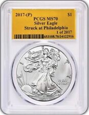 2017 (P) $1 Silver Eagle PCGS MS70 STRUCK AT PHILADELPHIA Population just 109!